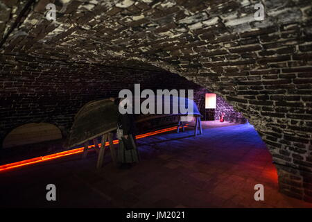 Arkhangelsk Region, Russia. 14th July, 2017. A ventilated drying room which is part of the museum of the Solovetsky - Stock Photo
