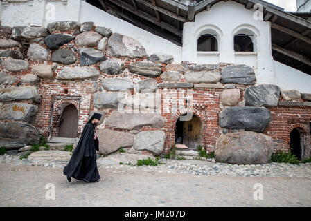 Arkhangelsk Region, Russia. 14th July, 2017. A monk seen at the Solovetsky Monastery situated on the Solovetsky - Stock Photo