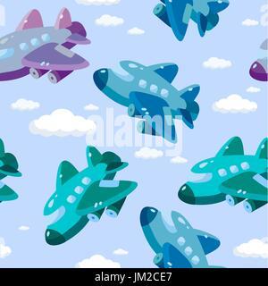 cute airplane s seamless pattern - Stock Photo
