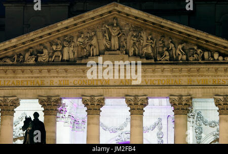 Night view of Royal Stock Exchange, luxury shopping Center facade, City of London Architectures - Stock Photo