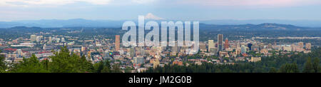 Portland Oregon downtown cityscape blue sky daytime panorama - Stock Photo