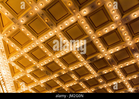 Marquee Lights On Broadway Theater Exterior Ceiling Stock