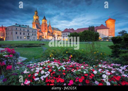 Wawel Castle, Krakow. Image of Wawel Castle in Krakow, Poland during twilight blue hour.