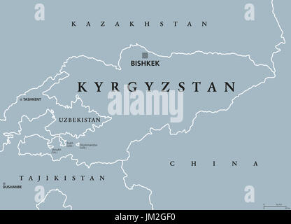 Kyrgyzstan political map with capital Bishkek and borders. Kyrgyz Republic, a landlocked country in Central Asia. - Stock Photo