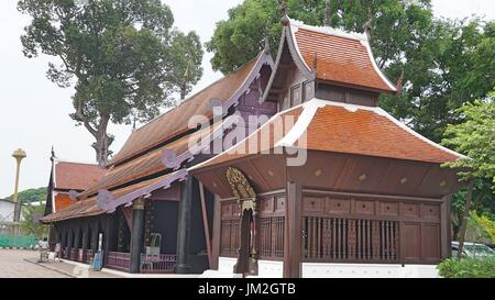 Thai style architecture buildings in Wat Chedi luang Worawihan, Chiang Mai, Thailand. - Stock Photo