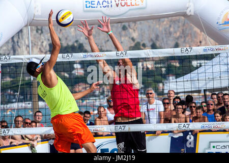 Athletes during the final of the Italian Championship Beach Volley on July 23, 2017 in Mondello Beach, Italy. - Stock Photo