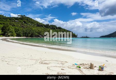 Port Launay Beach, Marine Resort, Morne National Park, Mahe, Seychelles - Stock Photo