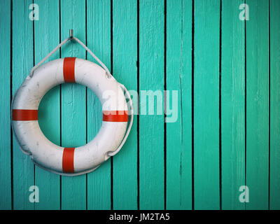 Life belt or rescue ring on wooden wall. Salvation, protection and security concept. 3d illustration - Stock Photo