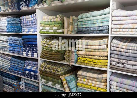 Woollen blankets at Felin Tregwynt weaving mill in Pembrokeshire, Wales, UK - Stock Photo