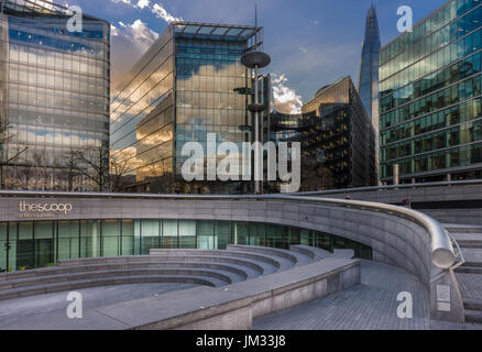 City Hall is the headquarters of the Greater London Authority, located in Southwark on the south bank of the River - Stock Photo