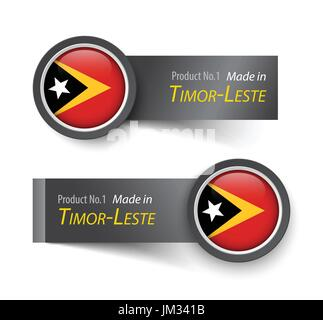 Flag icon and label with text made in Timor-Leste ( East Timor ) . - Stock Photo