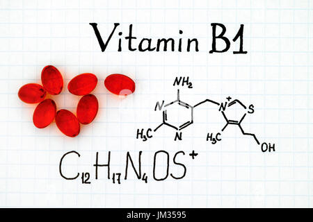Chemical formula of Vitamin B1 and red pills. - Stock Photo