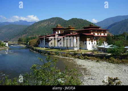Punakha Dzong, Punakha valley, Bhutan - Stock Photo
