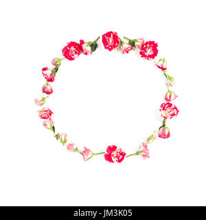 Flowers composition. Wreath made of rose flowers on white background. Flat lay, top view - Stock Photo