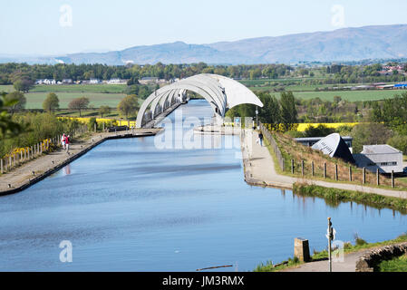 The Falkirk Wheel boat lift linking  the Union Canal and Forth & Clyde Canal, Falkirk, Scotland - Stock Photo