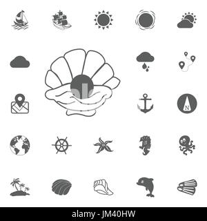 Pearl in a shell vector illustration isolated on white background - Stock Photo