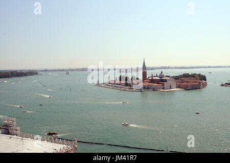San Giorgio Maggiore viewed from the Bell Tower, Saint Mark's Square, Venice. - Stock Photo