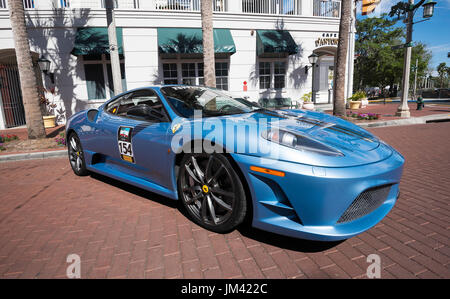 Ferari classic car parked in downtown Celebration (Florida) during the  annual Classic Car Show. - Stock Photo