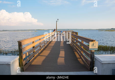 Evening view of one of the the fishing platorms at Lake Toho waterfront park, Kissimmee, Florida.