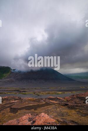Eruption of mt Yasur volcano, Tanna island, Mount Yasur, Vanuatu - Stock Photo