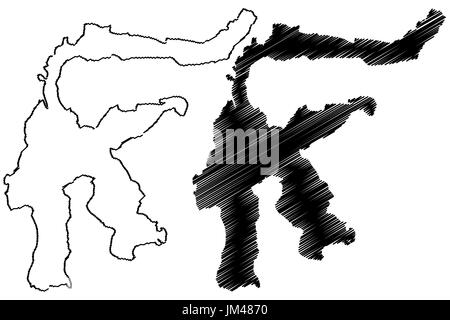 Sulawesi map vector illustration, scribble sketch Sulawesi - Stock Photo