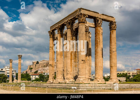 Temple of Olympian Zeus or Olympieion, Athens, Attica, Greece - Stock Photo