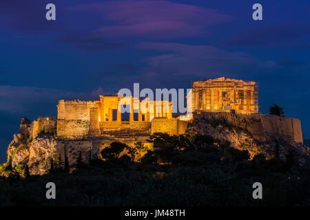 Night view of Acropolis, Athens, Attica, Greece - Stock Photo