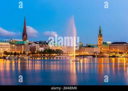 Hamburg Germany Skyline at dusk - Stock Photo