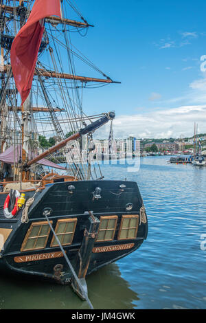 Bristol Harbour with Phoenix from Portsmouth Berthed. - Stock Photo
