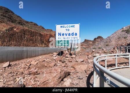 Sign Welcome to Nevada near Hoover Dam, Nevada, Arizona, USA - Stock Photo