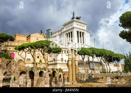 Ancient ruins of Roman Forum in Rome. Italy - Stock Photo