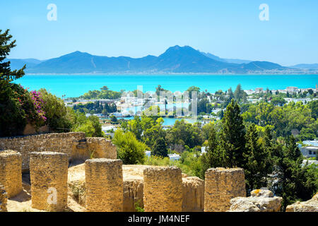 Landscape with ancient ruins of Carthage. Tunis, Tunisia, Africa - Stock Photo