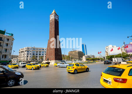 Famous clock tower on central square in Tunis city. Tunisia, North Africa - Stock Photo