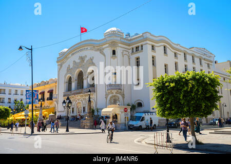 Tunisian National Theatre in center on avenue Habib Bourguiba. Tunisia,Tunis, North Africa - Stock Photo
