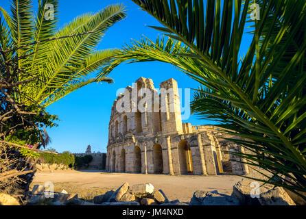 Ancient roman amphitheater in El Djem. Mahdia governorate, Tunisia, North Africa - Stock Photo