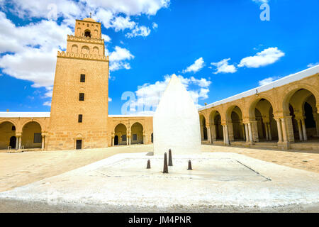 Ancient Great Mosque and sundial in Kairouan. Tunisia, North Africa - Stock Photo