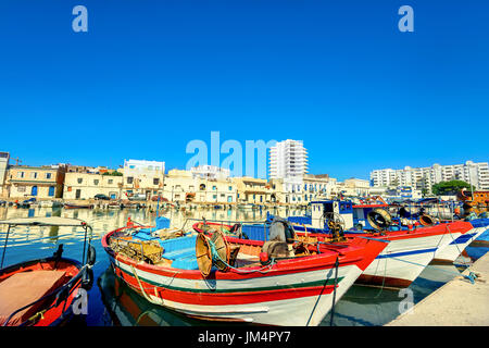 Scenic view of colorful fishing boats in Bizerte. Tunisia, North Africa - Stock Photo