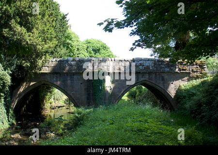Arched stone bridge over river, Fountains Abbey, North Yorkshire, UK - Stock Photo