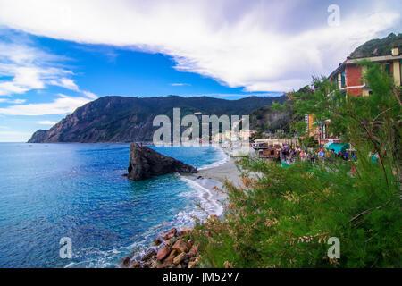 Coastline scene at Monterosso Cinque Terre at the Ligurian Coast in Italy - Stock Photo