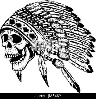 skull in native american indian chief headdress. Design element for poster, t-shirt. Vector illustration. - Stock Photo