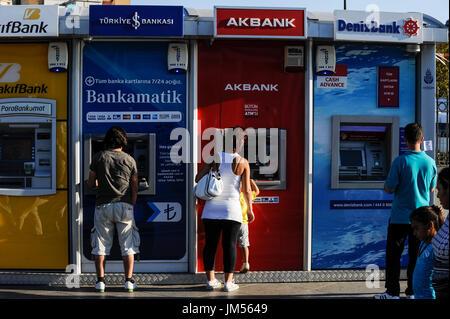 TURKEY Istanbul,  ATM machines of AK bank, Deniz Bank / TUERKEI Istanbul, Geldautomaten turkischer Banken - Stock Photo