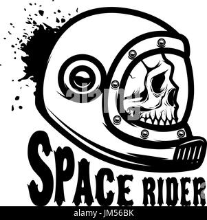 Space rider. Human skull in spaceman helmet. Design element for poster, t-shirt. Vector illustration - Stock Photo