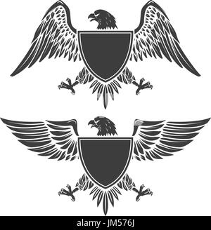 Eagle with shield isolated on white background. Design element for emblem, badge. Vector illustration. - Stock Photo
