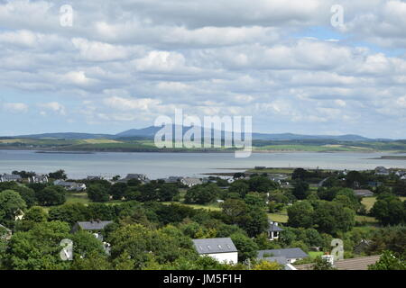View of the Clew Bay from the top of the Croagh Patrick in the County Mayo, Ireland - Stock Photo