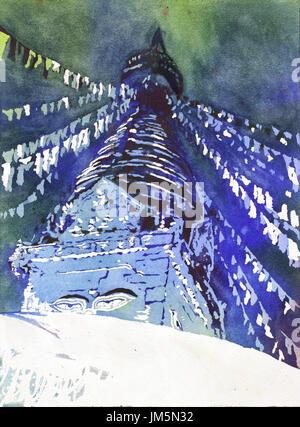 Fine art watercolor painting of Buddha's eyes and prayer flags at Boudhannath Buddhist stupa in the Kathmandu Valley- Nepal