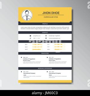 unique flat color curriculum vitae design template with photo or avatar placeholder stock photo - Curriculum Vitae Design Template