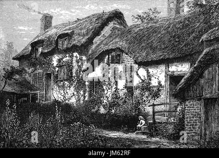 1870: Anne Hathaway's Cottage is a twelve-roomed farmhouse where Anne Hathaway, the wife of William Shakespeare, - Stock Photo