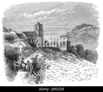1870: 15th Century All Saints Church, Hastings,  East Sussex, England - Stock Photo