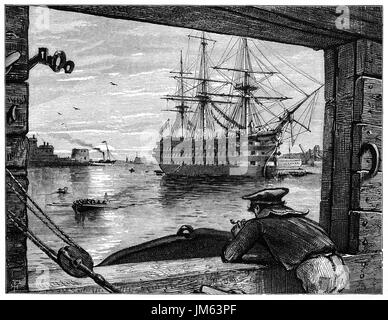 1870: 1870: An old tar (sailor) viewing HMS Victory in Portsmouth Harbour off Gosport. She is a 104-gun first-rate - Stock Photo