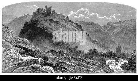 1870: Peveril Castle aka Castleton Castle and Peak Castle  is a ruined 11th-century castle overlooking the village - Stock Photo